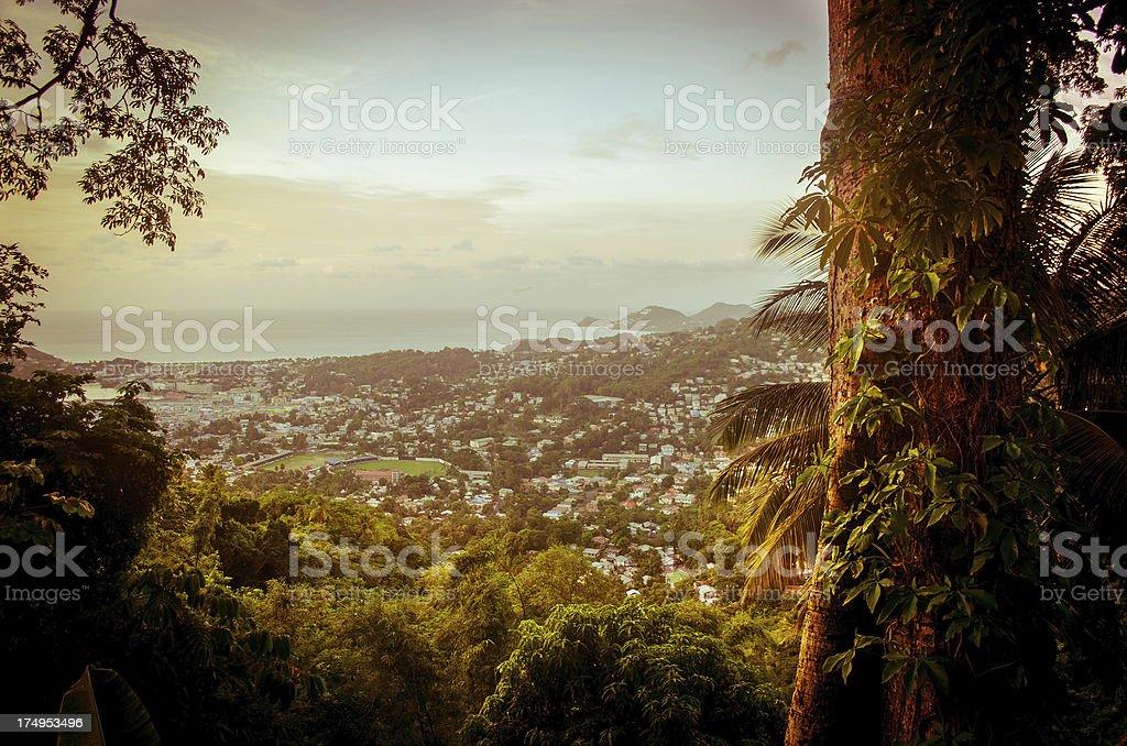 scenic vista of Castries through lush bush stock photo