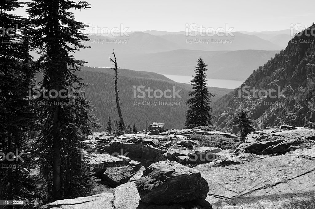 Scenic Vista Overlooking Lake MacDonald Glacier National Park Montana royalty-free stock photo