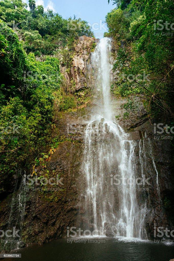 Scenic Wailua Falls Hana Maui Waterfall Haleakala National Park stock photo
