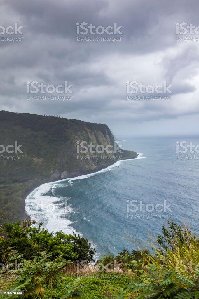 scenic waipio valley, big island, hawaii islands stock photo
