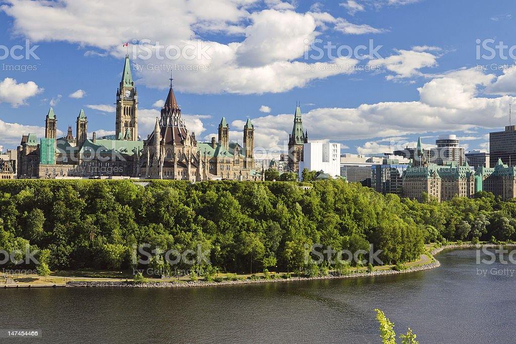 Scenic water view of Parliament Hill Ottawa Ontario Canada stock photo