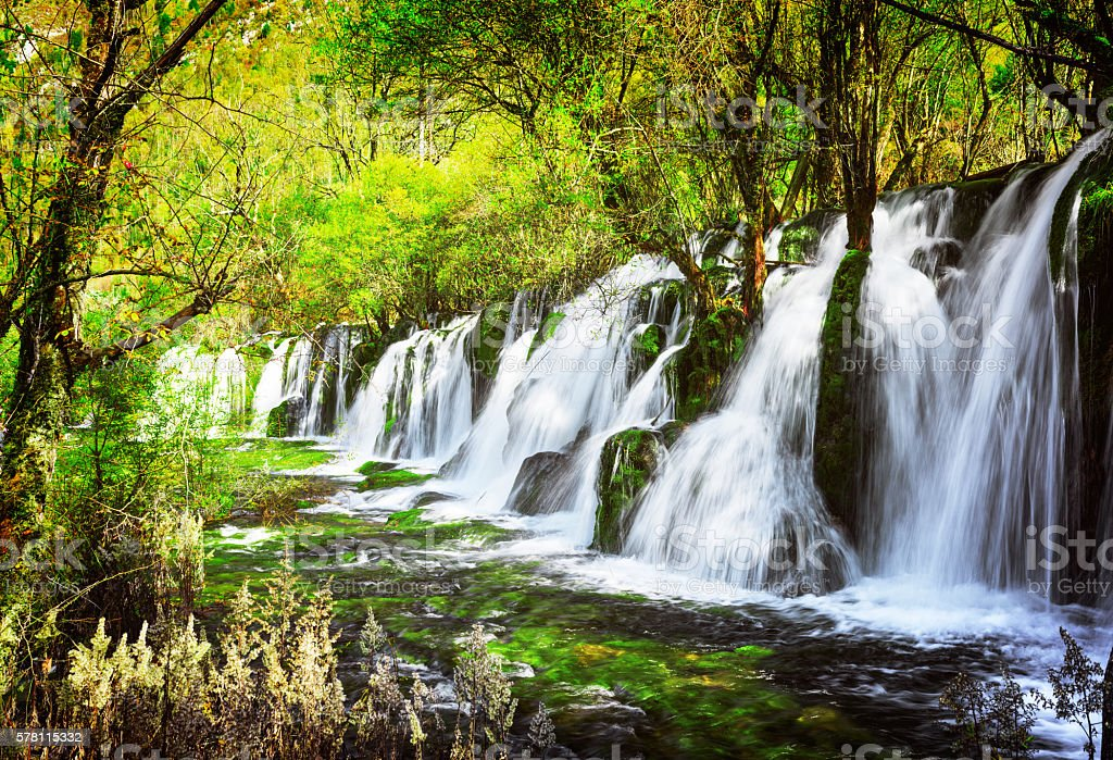 Scenic waterfall with crystal clear water among green forest stock photo