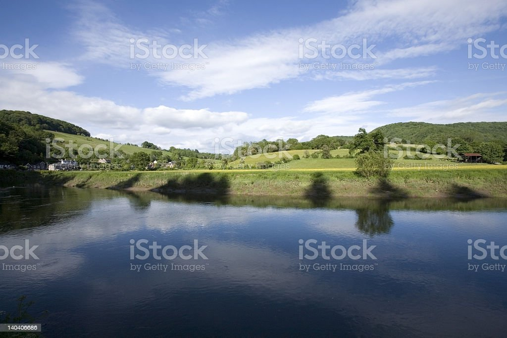 Scenic wide angle shot of the river Wye stock photo