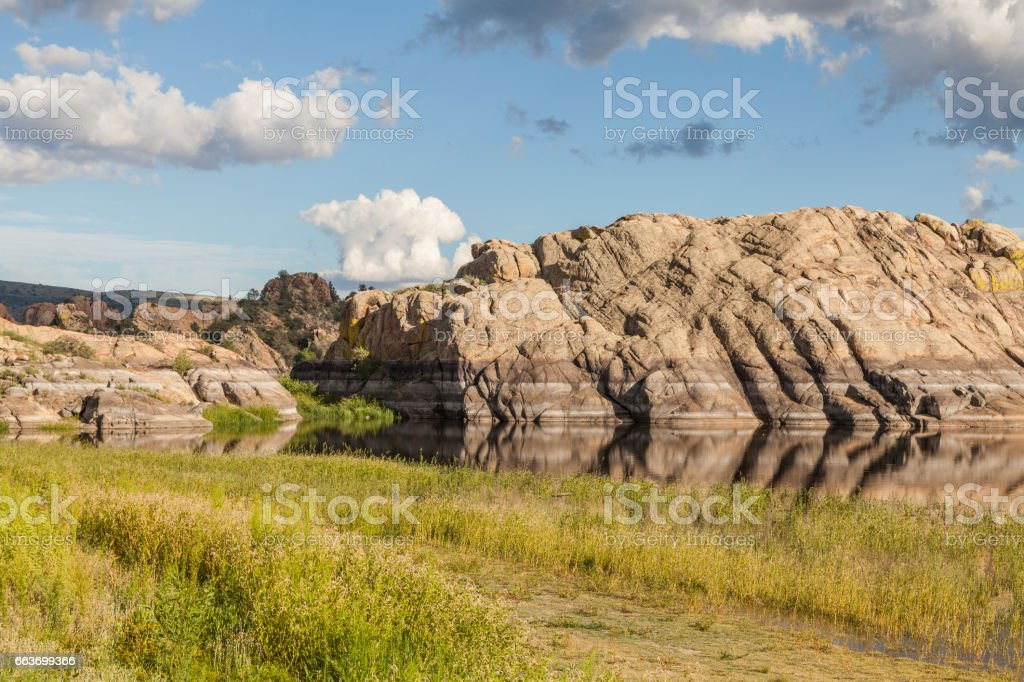Scenic Willow Lake Reflection stock photo