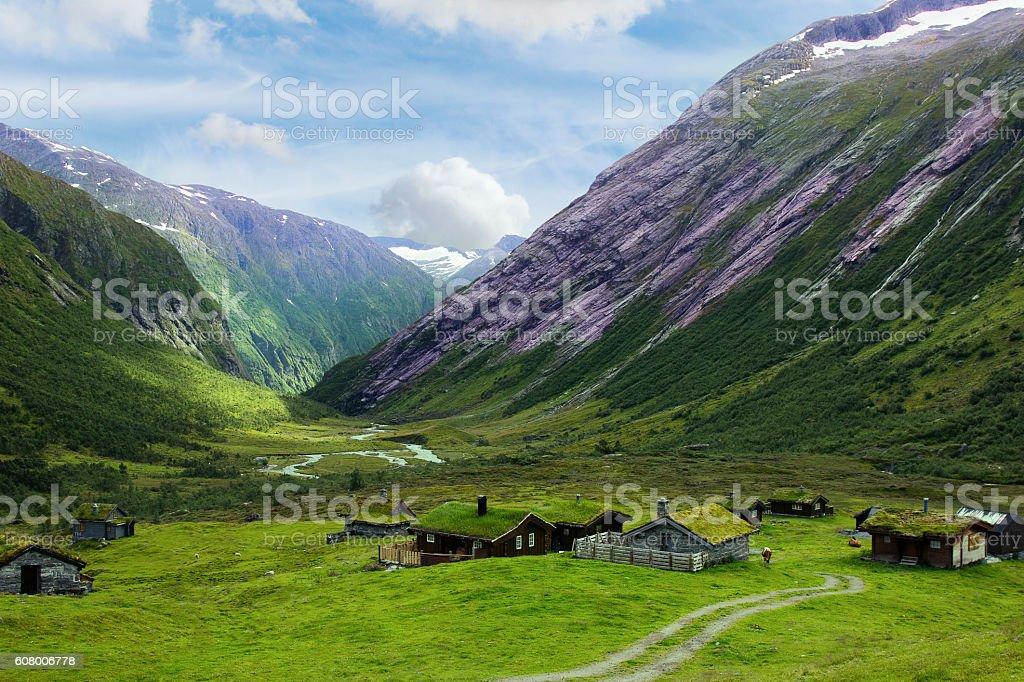 Scenic Winding Road in Norway. stock photo