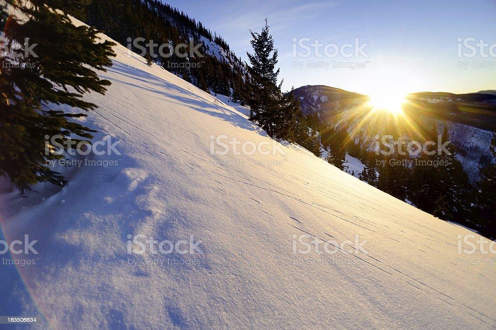 Scenic Winter Mountain Sunset stock photo