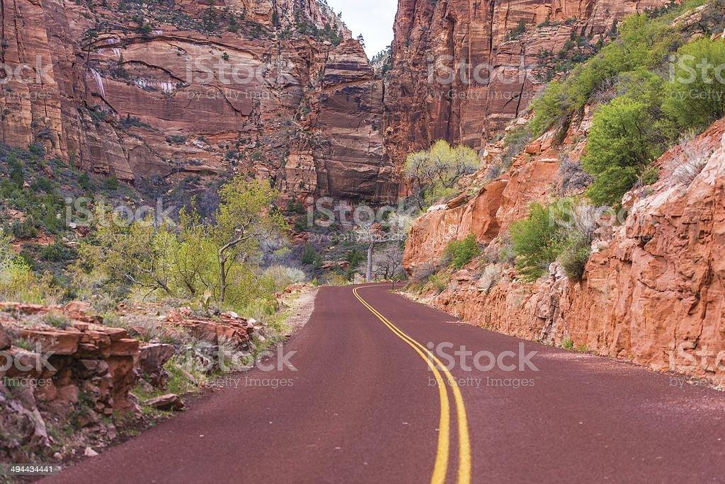 Scenic Zion Road stock photo