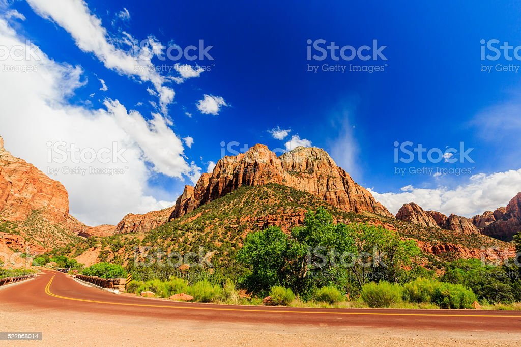 Scenic Zion Road. Zion National Park Interior Road. Utah, USA. stock photo
