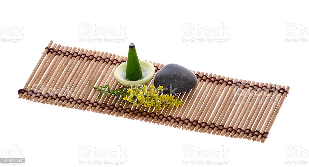 Scent, Pebble and Flower on Mat royalty-free stock photo