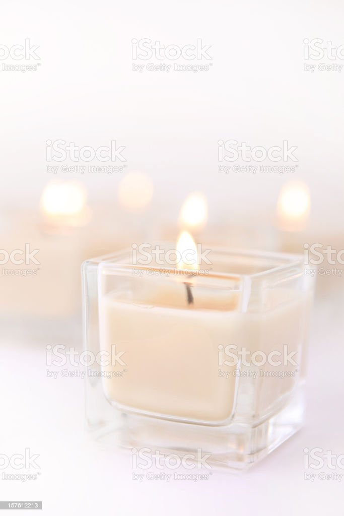 Scented Spa Candles with Copy Space stock photo