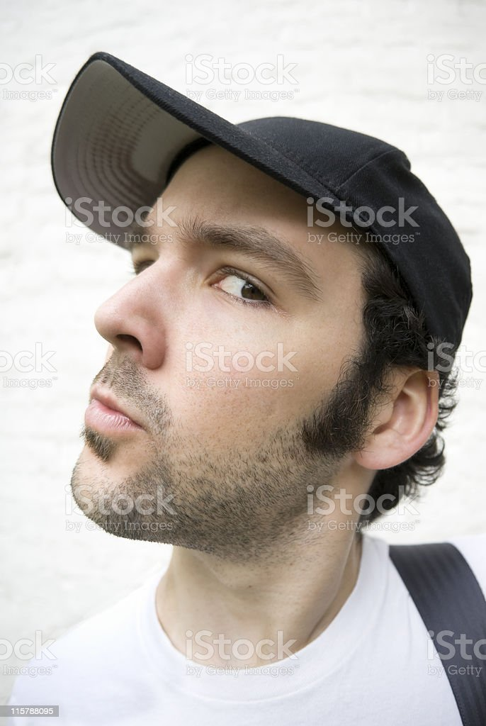 Sceptical man stock photo