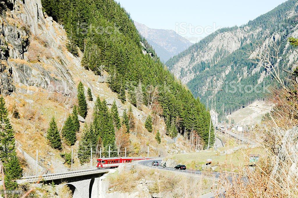 Schallenen Gorge in Switzerland stock photo