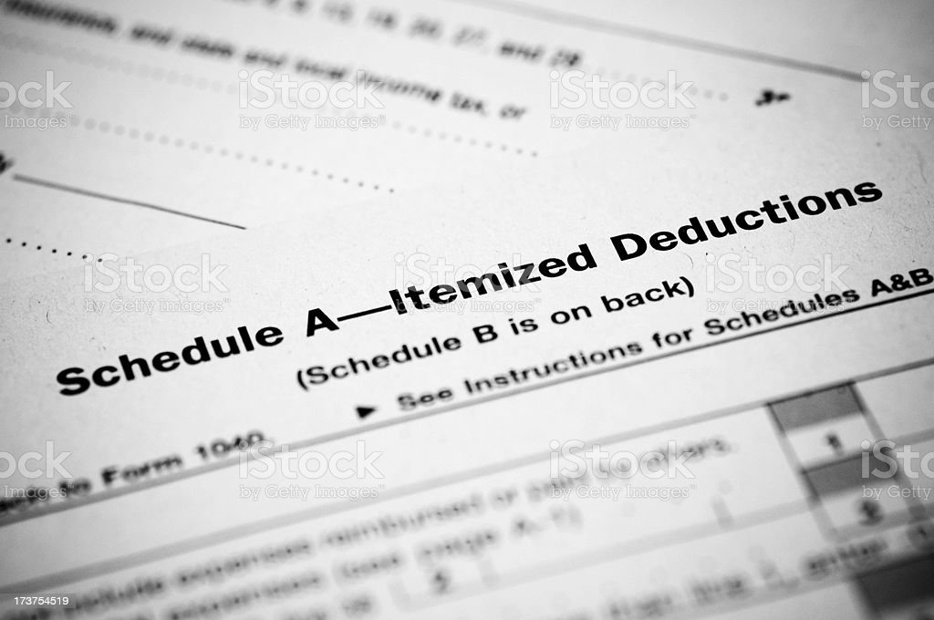 Schedule A Income Tax Form stock photo