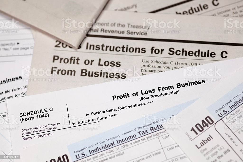 Schedule C Profit or Loss from Business 1040 Form stock photo