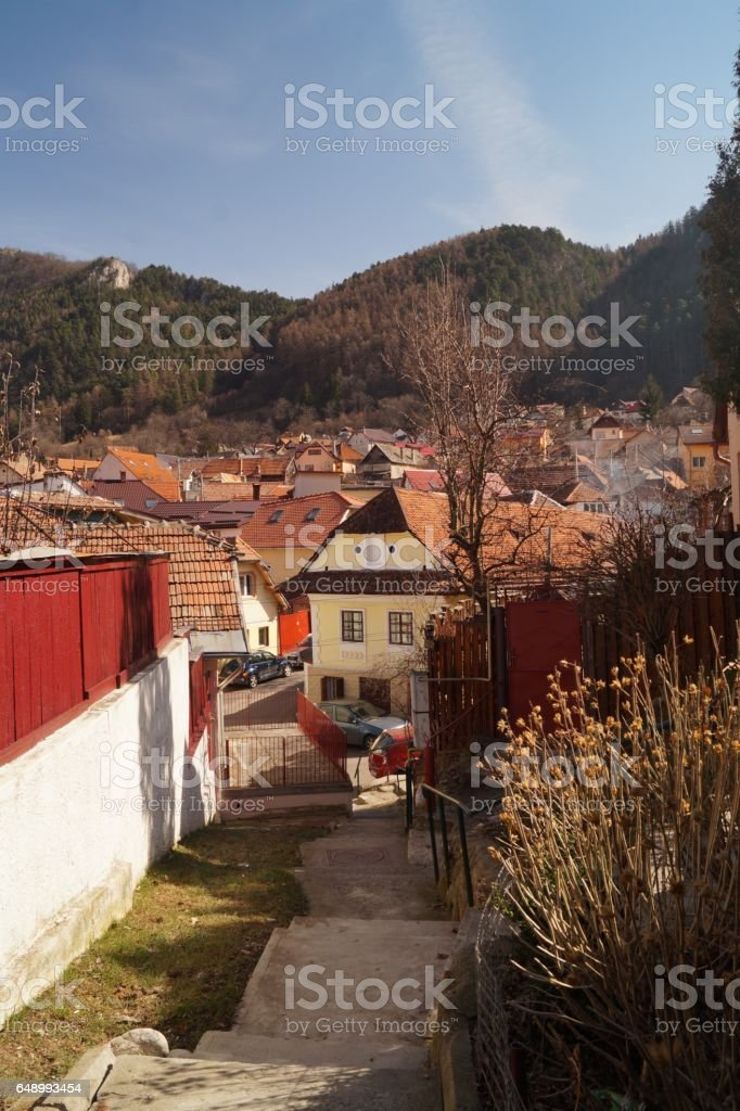 Schei district houses, Brasov, Romania, Transylvania stock photo