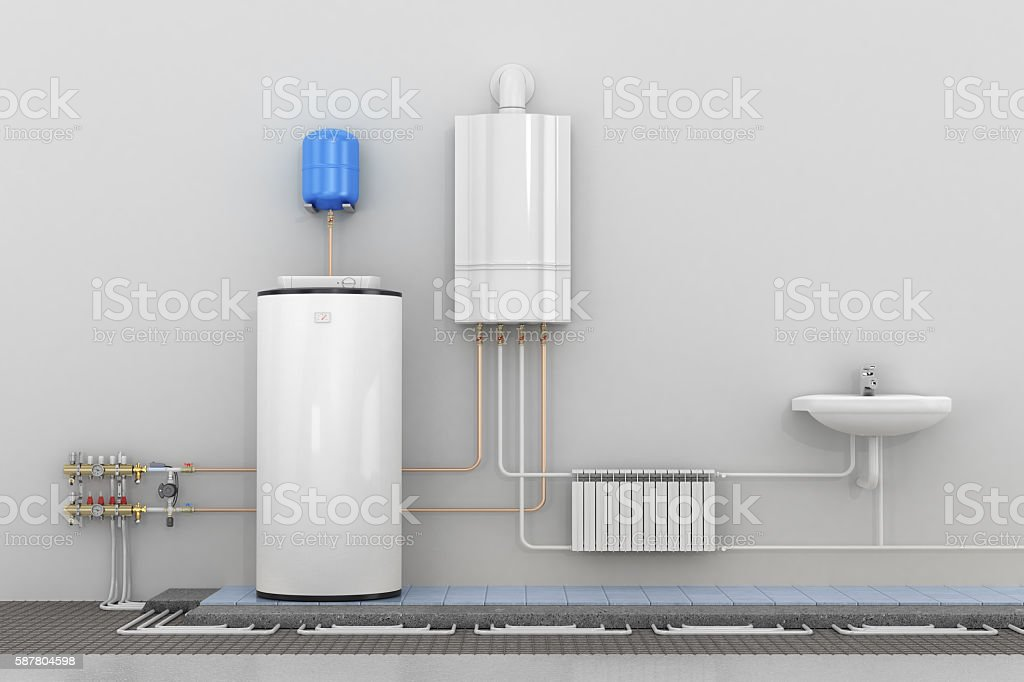 Scheme heating in homes. stock photo