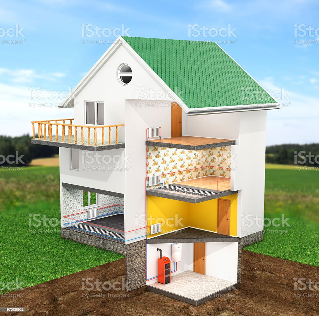 Scheme heating in the house stock photo