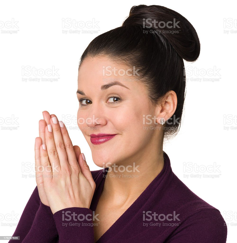Scheming Woman Rubs Hands Together royalty-free stock photo