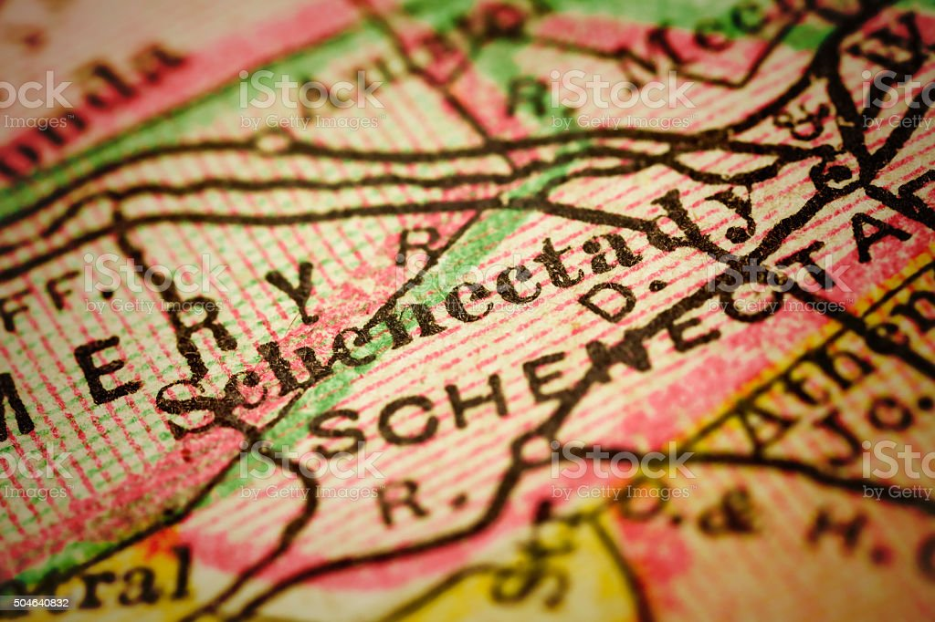 Schenectady, New York on an Antique map stock photo