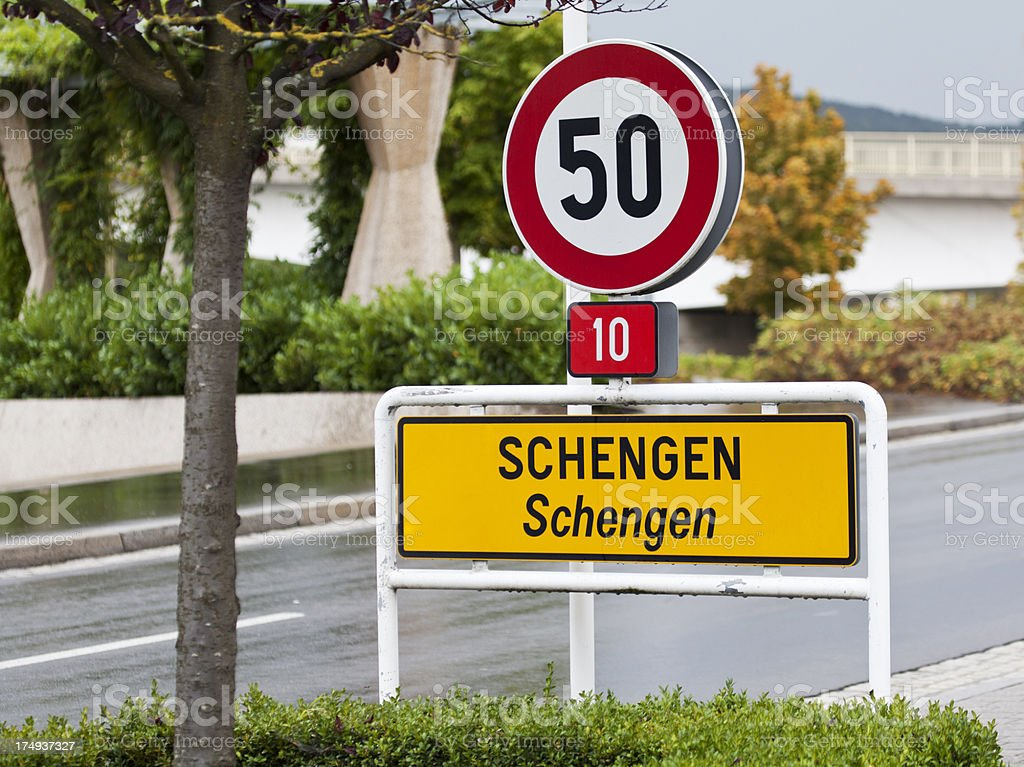 Schengen sign stock photo