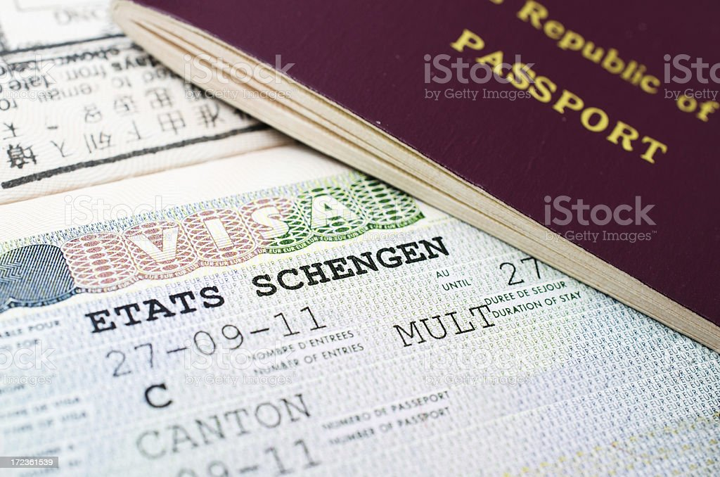 Etats Schengen visa stock photo