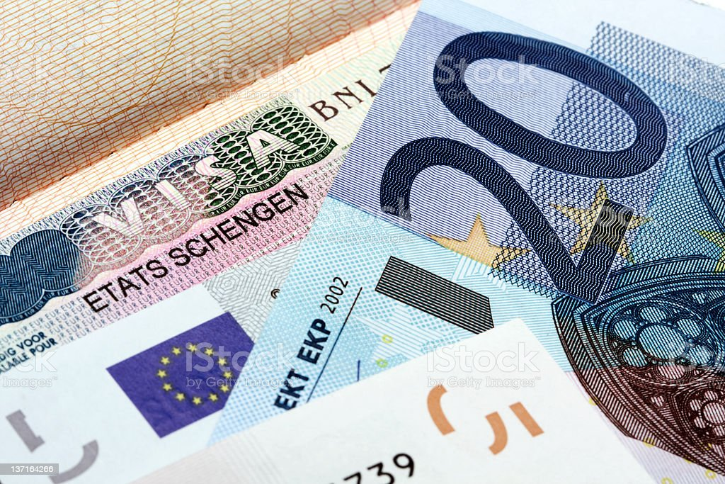 Schengen visa and Euro stock photo