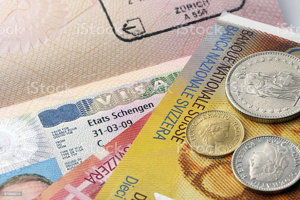 Schengen visa and Swiss francs royalty-free stock photo