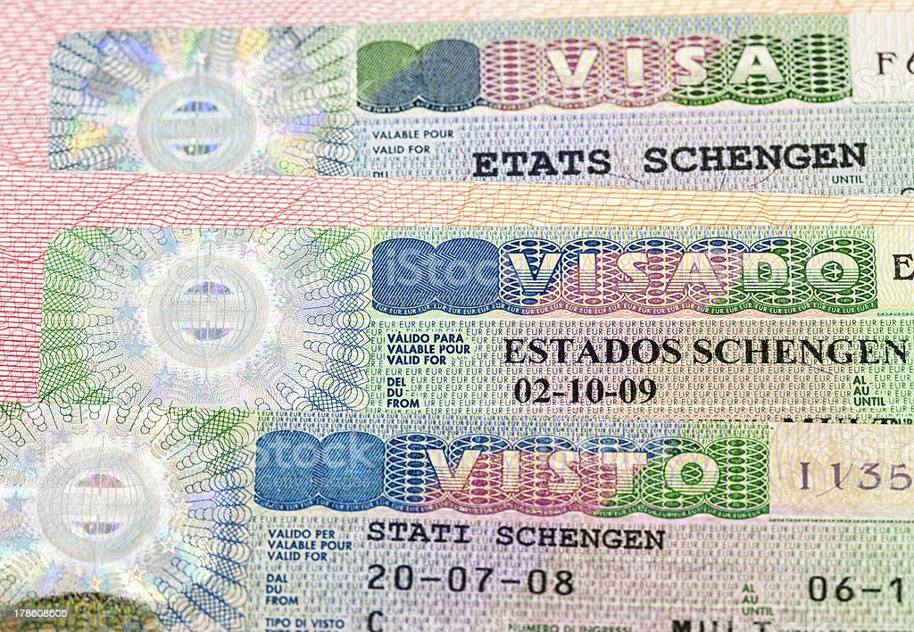 Schengen Visa on passport page stock photo