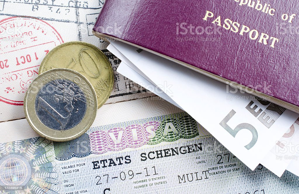 schengen visa stock photo