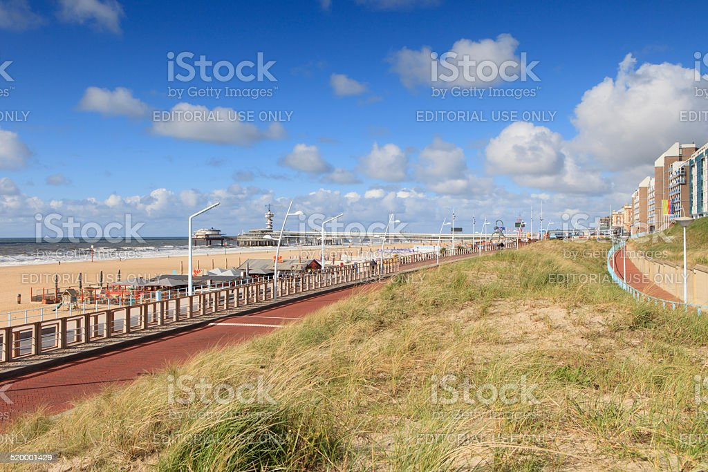 Scheveningen boulevard on a partly clouded day stock photo