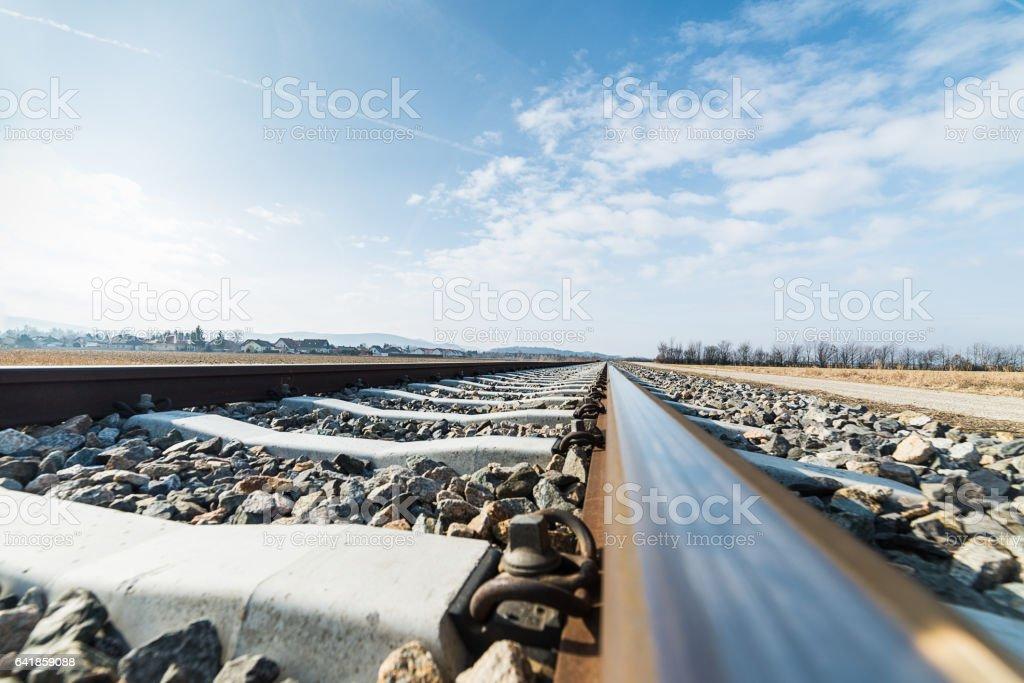 Schienen einer Eisenbahn stock photo