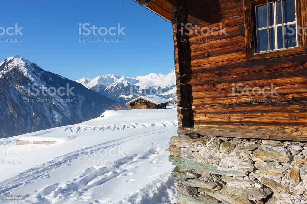 Schihütten in den Alpen stock photo