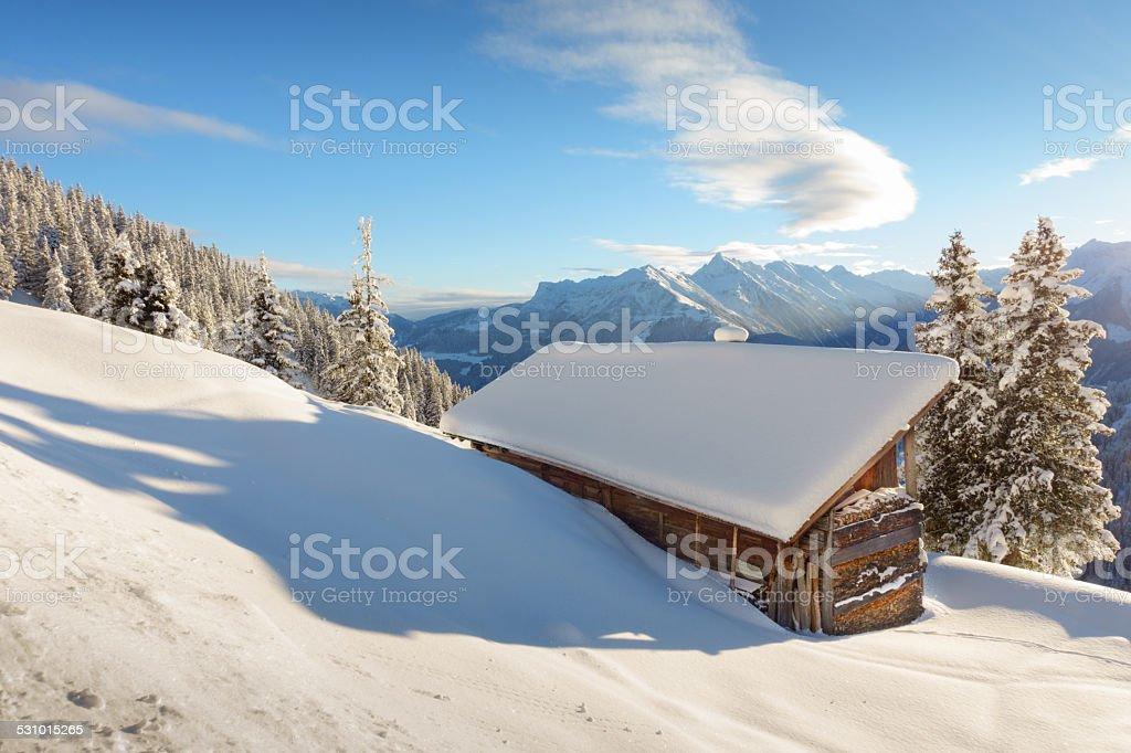 Schihütten in Österreich stock photo