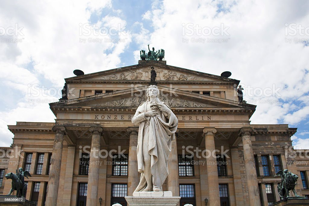 Schiller statue in front of Konzerthaus (Concert House) in Berlin stock photo