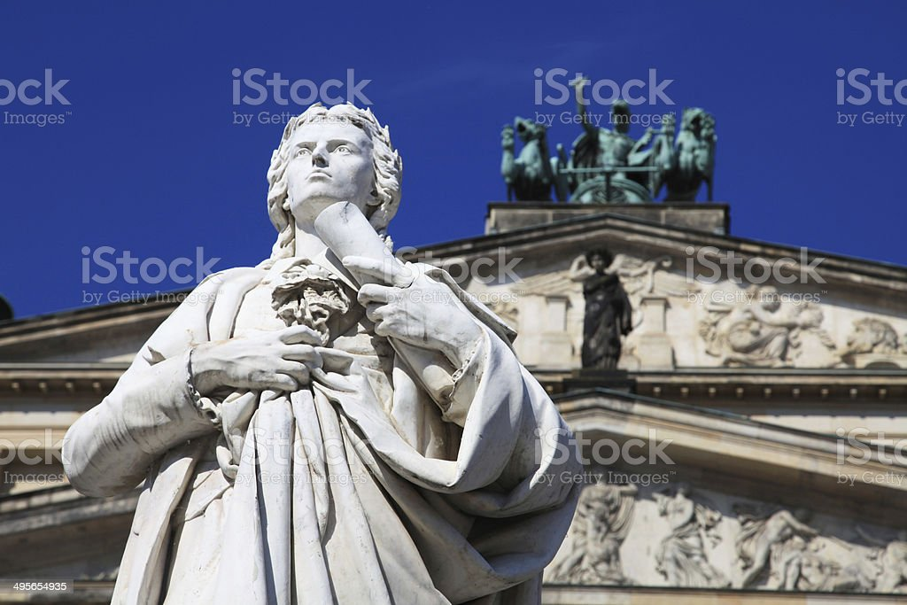 Schiller statue on Berlin  Gendarmenmarkt stock photo