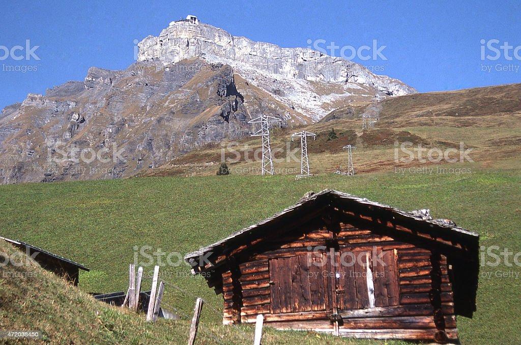 Schilthorn Murren Peak and Farmstead Swiss Alps Lauterbrunnen, Switzerland stock photo