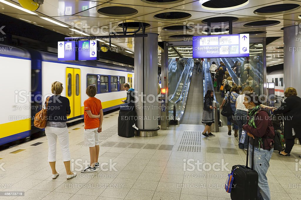 Schiphol Airport railway station stock photo