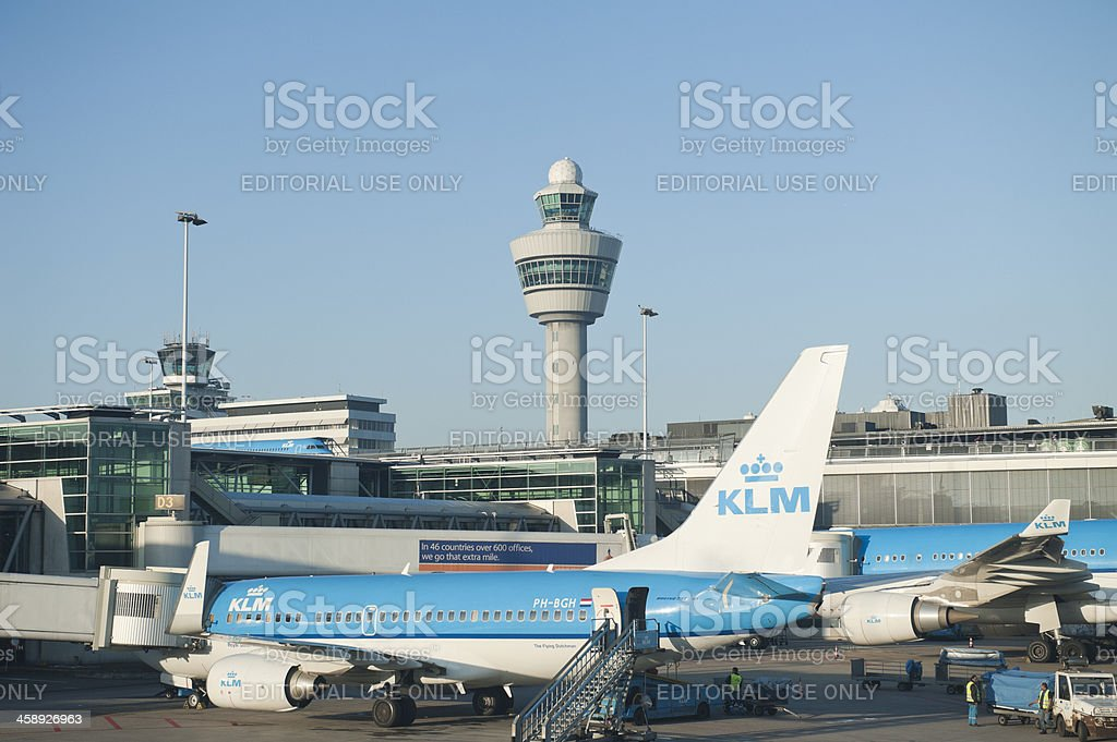 schiphol airport with klm 737 and a330 stock photo