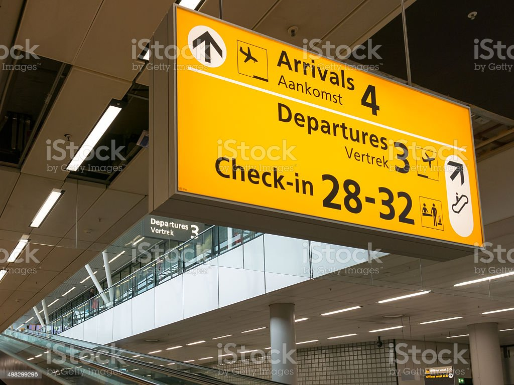 Schiphol Amsterdam Airport terminal signs, Holland stock photo