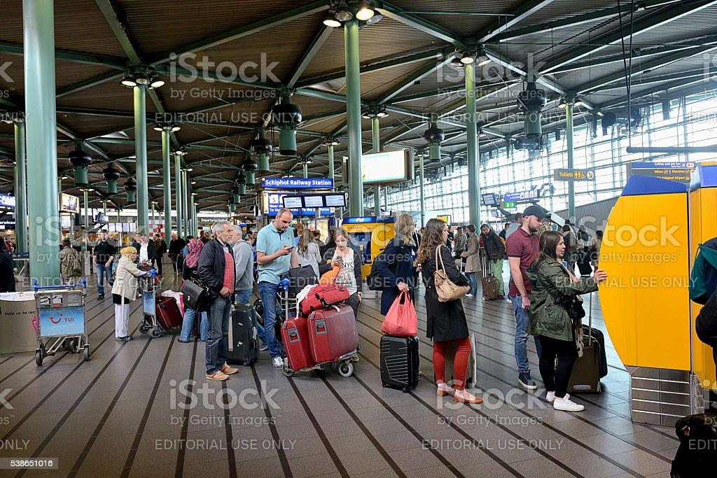 Schiphol Railway Station stock photo