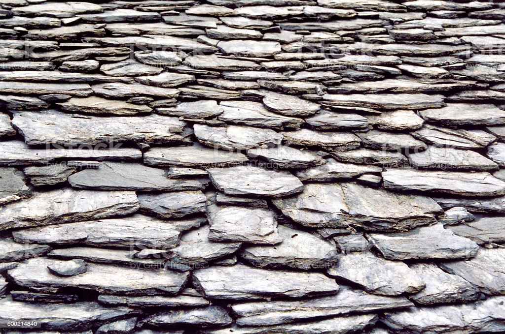 Schist roof detail stock photo