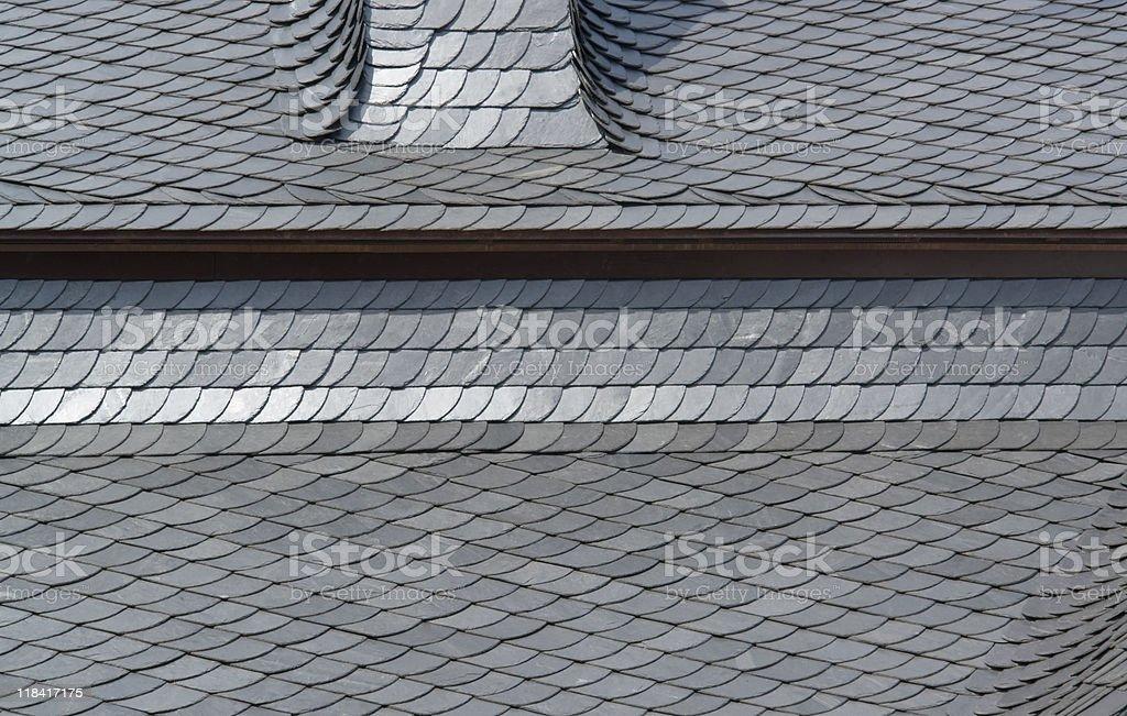 schist tiled roof detail stock photo
