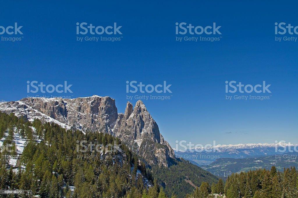 Schlern mountains stock photo