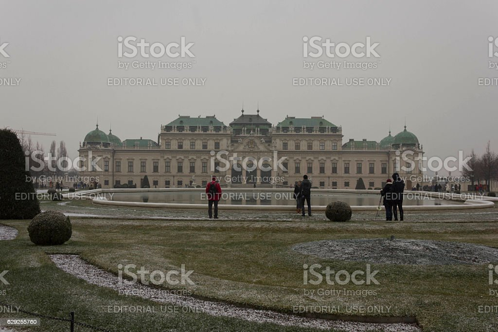 Schloss Belvedere building and Park in Vienna stock photo