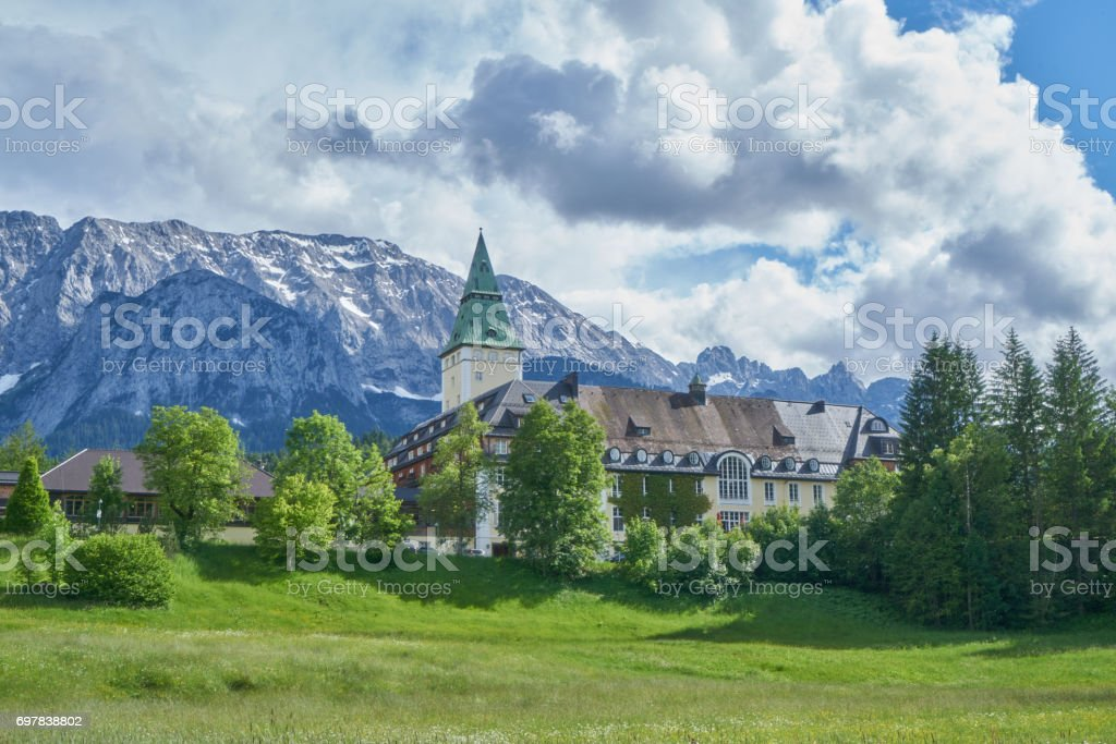 Schloss Elmau with Zugspitze stock photo