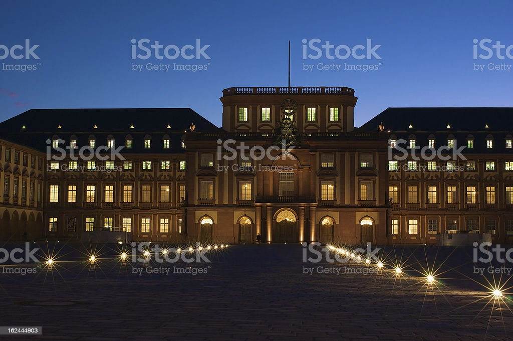 Schloss Mannheim at dusk royalty-free stock photo