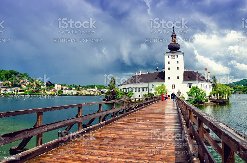 Schloss Ort Austrian castle in the Traunsee lake, in Gmunden. stock photo