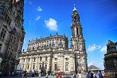 Schlossplatz, Katholische Hofkirche in Dresden Germany