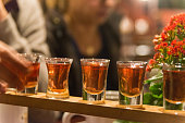 schnapps liqueur on table in a row
