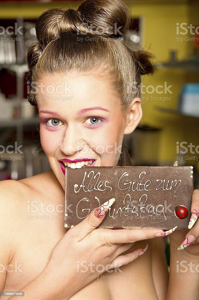 schönes Mädchen mit Schokolade stock photo